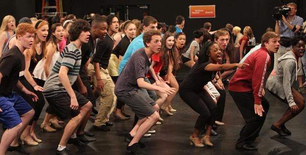 High school students rehearse in documentary 'Broadway or Bust.'