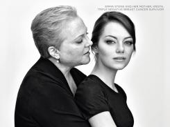 Emma Stone and her mother Krista Stone, a triple negative breast cancer survivor, share an intimate pose in their Revlon portrait.