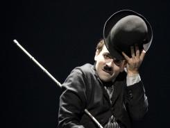 Mustache, hat, baggy suit: Rob McClure stars in the Broadway show about the Little Tramp.
