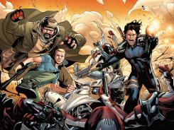The Eternal Warrior (right) fights alongside his brother Armstrong and Obadiah Archer in Valiant's Archer & Armstrong.