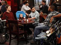Zach Cregger, left, Jesse Bradford and Anthony Anderson play clueless fathers in NBC's 'Guys With Kids,' premiering tonight at 10.