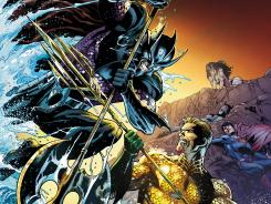 "The cover to Aquaman issue 15 shows Ocean Master vs. Aquaman in the ""Throne of Atlantis"" story line, which crosses over into Justice League."