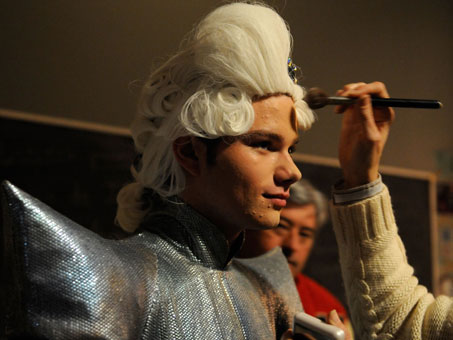 "Chris Colfer, who plays ""Kurt Hummel"" on the hit show Glee, has his makeup touched up before the start of filming of scene for an episode featuring the music of Lady Gaga."