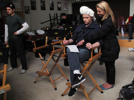 Colfer and Dianna Agron, who plays Quinn, look over the script for a scene. Glee