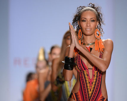 Models walks the runway at the Red Carter show  in Miami Beach.