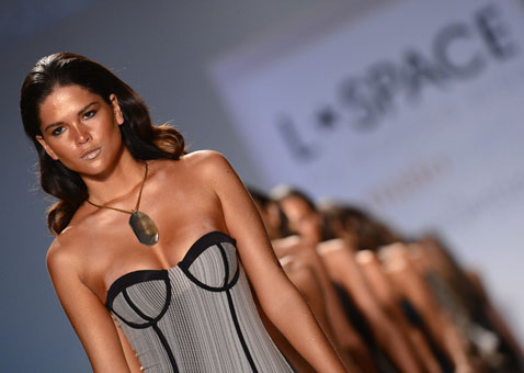 Models walk the runway at L Space by Monica Wise show  on Sunday.