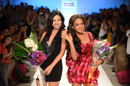 Nicolita designer Nicole Di Rocco and singer/actress Christina Milian of The Voice walk the runway at the Nicolita swimwear show Friday. Wanting to get her feet wet in the fashion industry, Milian jo