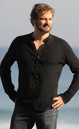 Colin Firth enjoys a seaside photo shoot for his new movie, Genova, ...