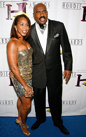 : comedian turned author steve harvey poses with his wife marjorie
