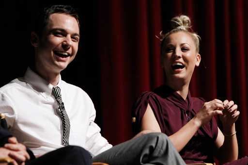 The Big Bang Theory's Jim Parsons, left, and Kaley Cuoco crack up during a ...