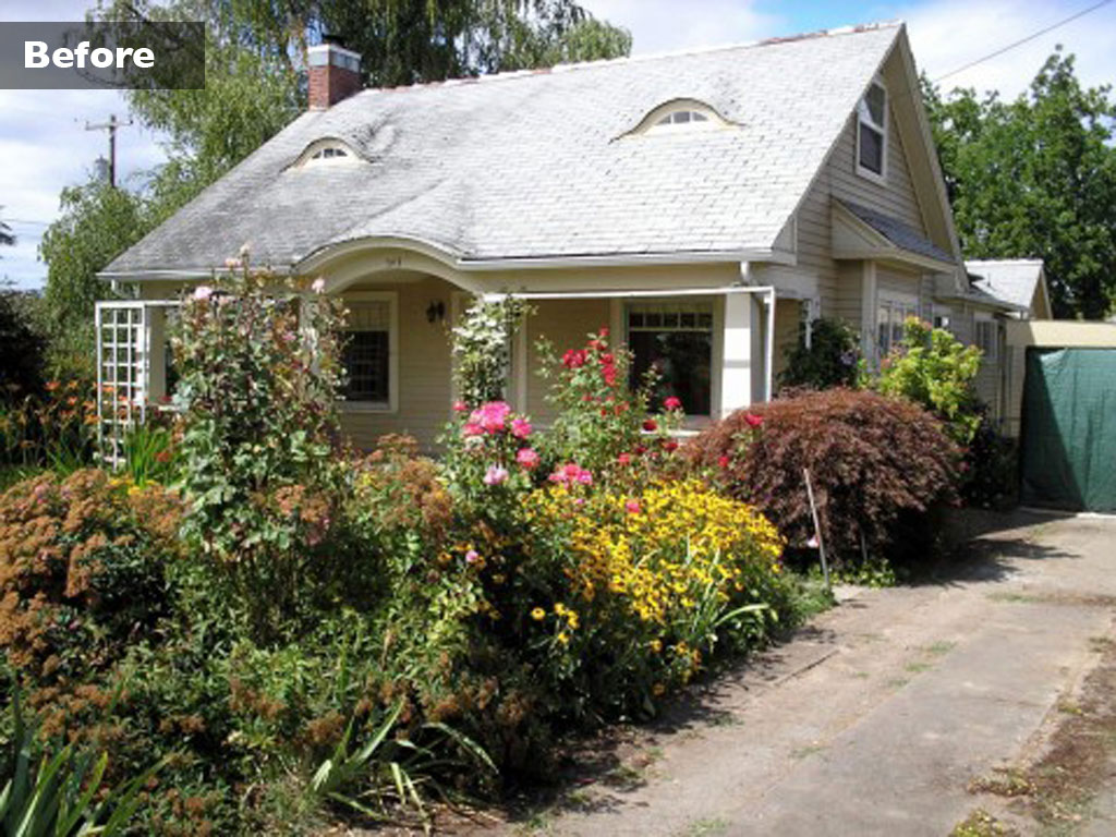 "Architect Eric Odor amped up the ""bungalowness"" of this 1912 home in Minneapolis by opening up the enclosed front porch to make it an outdoor parlor and adding stone kneewalls, tapered columns and a sweeping arched beam (By Randy O'Rourke)."