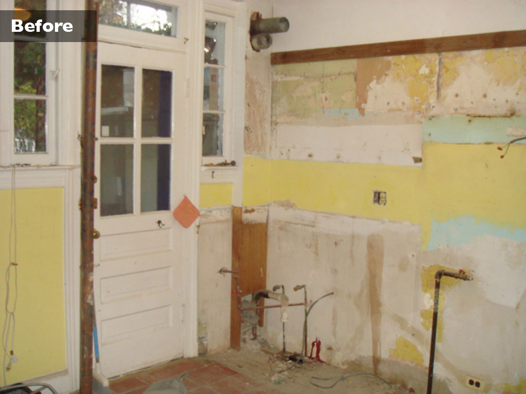 Here's the small kitchen of Linda Roth Conte and her husband Silvestro after everything was removed during a renovation last year by JJ & K Remodeling in Washington, D.C. (By Silvestro Conte)