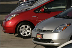 Toyota Prius sedans sit on a lot in the Denver suburb of Aurora.
