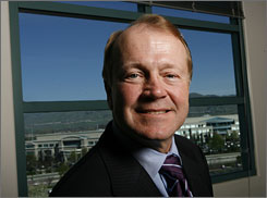 Cisco Chairman and CEO John Chambers at the company's headquarters in the heart of Silicon Valley in San Jose, Calif. The Cisco campus is seen out the window.