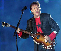 British rock legend Paul McCartney performs during the Super Bowl in 2005 at Jacksonville, Fla.