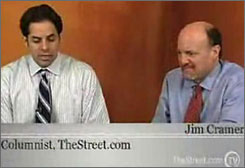 TheStreet.com's Aaron Task, left, moderates a video interview with Jim Cramer of CNBC.