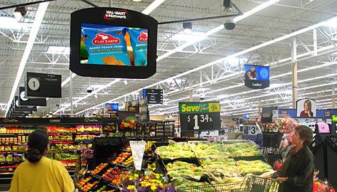 TVs throughout Wal-Marts can showcase products for sale. The upgraded Wal-Mart TV system will be at eye level for easier viewing.