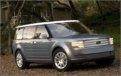 """Ford is expected to debut its new """"people mover"""" based on the Ford Fairlane concept, a boxy crossover that it first previewed in 2005. The vehicle is expected to be called the Ford Flex."""