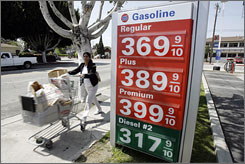 Gasoline prices are high everywhere, especially on the West Coast. At this station in Los Angeles, a gallon of regular was $3.69 on Monday.