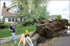 An Omaha, resident examines damage caused by a tree knocked over in a 2005 wind storm.
