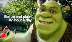 Shrek stars in public service announcements promoting healthier lifestyles for kids.