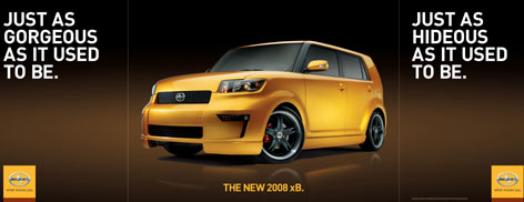 Toyota's minimal ad strategy for the Scion targets creative, male, urban trendsetters, 18 to 35.