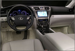 The leather-covered dashboard is handmade in the Lexus LS 600h L sedan. And the steering wheel? Heated.