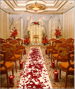 The Wedding Chapel at the Venetian in Las Vegas. The resort's aim is to perfom 77 nuptials on the big day.
