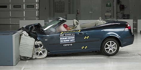 The Saab 9-3 convertible, seen here in the front crash test, is also equipped with Saab automatic pop-up roll bars to help provide protection in the event of a roll-over crash or an impact that could lead to a roll-over.