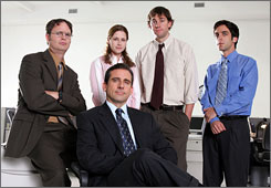 """The Office"" on NBC (with cast members including Steve Carell, center) was among shows benefitting from the new ratings system."
