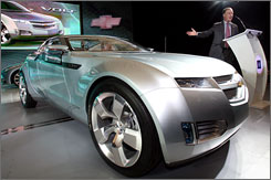 GM China President Kevin Wale introduces the latest Chevrolet Volt concept car at the Shanghai Auto Show in April.