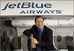 JetBlue's Chief Operating Officer Russ Chew in a cutaway cabin trainer at the airline's headquarters in Forest Hill, N.Y.