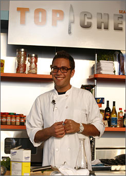 """Top Chef 2"" winner Ilan Hall during a promotion during NYC Restaurant Week."