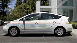Google says its Toyota Prius, modified to be a plug-in hybrid, gets more than 70 miles per gallon.