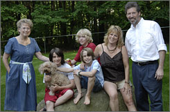 David Horgan, 44 (far right), poses with his family: mother-in-law Corrine Davis, 69; Davis Horgan, 13; Andrew Horgan, 15; Cory Horgan, 8; and Julie Horgan, 41.