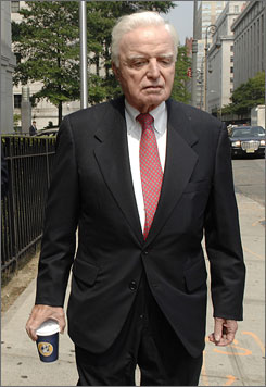 John Rigas, founder and former CEO of Adelphia Communications, leaves court after being ordered to prison Aug. 13.