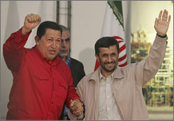 "Iranian President Mahmoud Ahmadinejad, right, and Venezuelan President Hugo Chavez launched construction of a joint petrochemical plant Monday, part of their ""axis of unity"" plans to combat ""the imperialism of North America."""