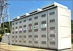 The NaS battery system could help utilities avoid construction of new transmission lines, substations and power plants. Plus, they make wind power more reliable and provide backup power in case of outages, such as the one that hit New York City last week during a heat wave.