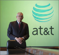 AT&amp;T's newly retired chairman and CEO Ed Whitacre in the board room at company headquarters in San Antonio.