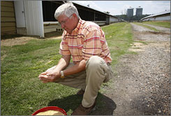 Poultry farmer Dorman Grace inspects feed in front of the chicken houses on his farm in Jasper, Ala., earlier this month.