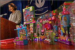 Acting Consumer Product Safety Commission Chairman Nancy Nord announces the recall of millions of toys manufactured by Mattel, including many Polly Pocket dolls and accessories.