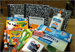 Buyers of Schoolkidz school-supply kits can get packages like these.