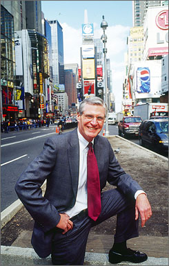 Stuart Graham in Times Square, where Skanska built the world's biggest digital lightboard on the Nasdaq building and redid the subway station.