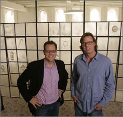 Justin Brownhill, left, and Nicolas Perkin in the offices of their start-up company the New Orleans Exchange.