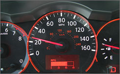 Nissan's fuel-efficiency meters (like this one below the speedometer) will allow drivers to see the effect of a lead foot.