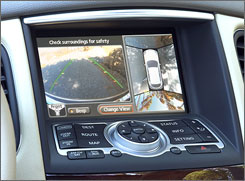 Infiniti EX 35's four cameras give a top-down view of the outside of the car to help reduce blind spots.