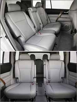 The middle section of the second row seat unlatches and stows in a compartment under the center console between the front bucket seats, leaving a gap between the middle seats as a kid-size aisle. Or you can fill it with a latch-in tray that has cupholders and covered storage.