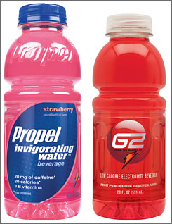 Propel Invigorating Water contains caffeine and B vitamins. G2 is designed for people not exercising.
