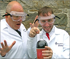 Stephen Voltz, left, and Fritz Grobe got $50,000 for showing what happens when Mentos meets Diet Coke.