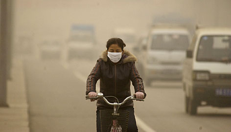 Visibility fell to less than 1,000 feet on this December day in 2006 in the city of Lanzhou, in western China.